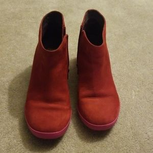 Camper red suede ankle boots size 38